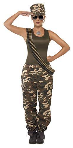Kostüm Militär Accessoires - Khaki Camo-Kostüm Damen enthält Leibchen und Hose, Medium