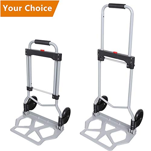Meditool Diable Chariot Pliable Charge 110kg, Diable Pliant 2 Roues, Argent