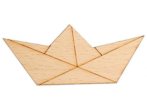Holz Brosche (Papierschiff Brosche Anstecknadel Krawattennadel Boot Abstrakt Origami Holz)