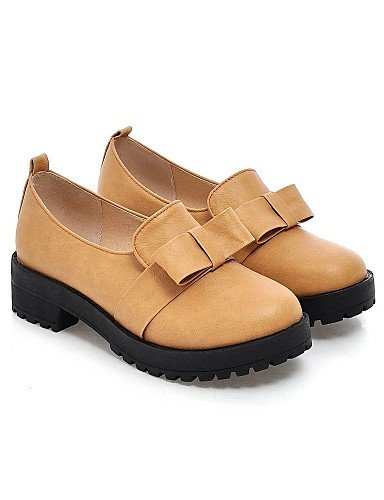 ZQ Scarpe Donna - Mocassini - Casual - Plateau / Punta arrotondata - Piatto - Finta pelle - Marrone / Giallo / Beige , brown-us10.5 / eu42 / uk8.5 / cn43 , brown-us10.5 / eu42 / uk8.5 / cn43 brown-us9.5-10 / eu41 / uk7.5-8 / cn42