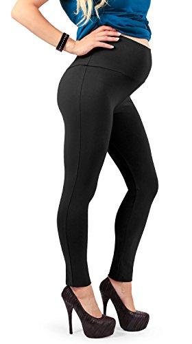 Leggings premaman, morbido cotone elasticizzato e coprente, ottima vestibilità - made in italy (nero 42 it)