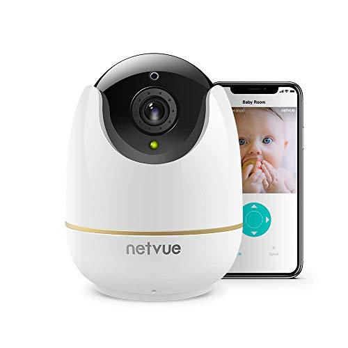 NETVUE 1080P WLAN Überwachungskamera Kompatibel mit Alexa Echo Show, 360-Grad-Sicherheit Drahtlose IP Kamera mit Vollansicht IR Nachtsicht Sicherheitsüberwachungssystem für Baby/Pet