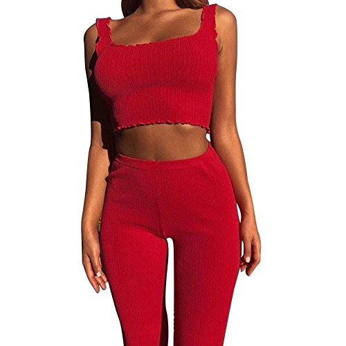 Mounter Damen Pullover Sport Weste Crop Top Hose 2Set Trainingsanzug-Trainingsanzug joggen Gym Sport Suit [Top & Leggings]-Strechfit Yoga Gym Wear Set, rot, S -