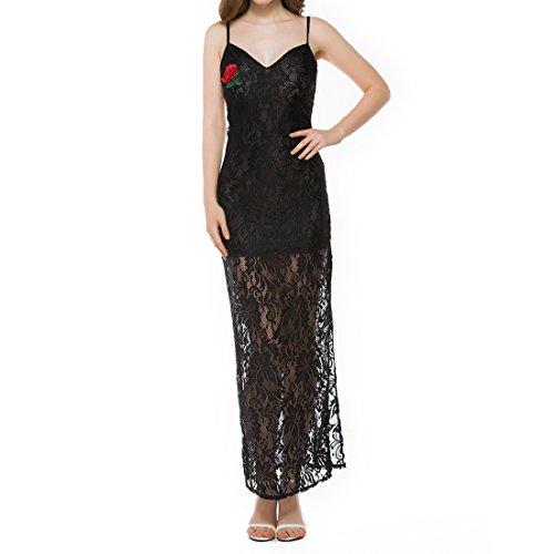 Mallty abito da sposa per donna senza spalline abito lungo in pizzo con scollo a v a maniche lunghe abito da sera (color : black, size : m)