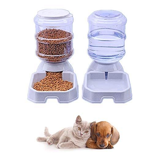 MonsterKill Haustier Futterspender | Hund Futterautomat Wasserspender | Katze Automatischer Nachfülltank Schüssel | Hunde, Katzen Rutschfest Automatik Trinkbrunnen, Wasserbrunnen | 3000g&3800mL, 2pc