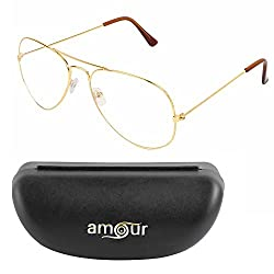 Amour Large Size Golden Spectacle frame with dummy lenses { 46W-C-GD-NI }