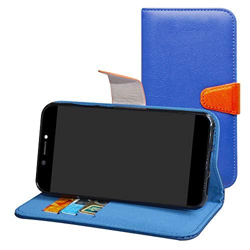 Labanema Archos Core 50 Hülle Case,Lederhülle PU Leder Flip Tasche Handy Schutzhülle Handyhülle mit [Ständer Funktion] Card Holder Kunstleder Cover für Archos Core 50-Blau