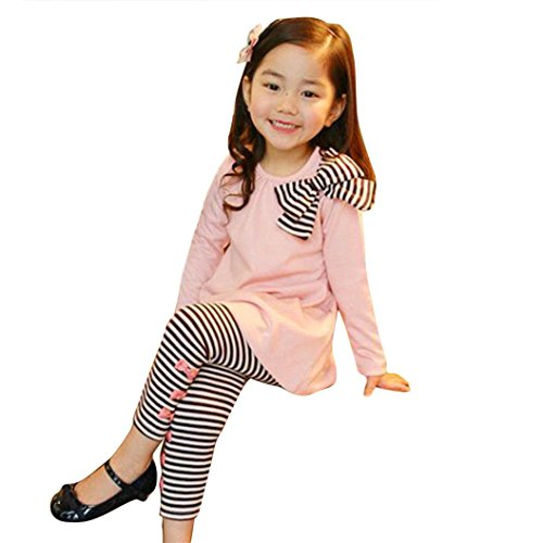 Internet 2Pcs Kids Baby Girls Clothing Set Long Sleeve Bowknot Dress T-Shirt+Stripe Pants 2-7Y