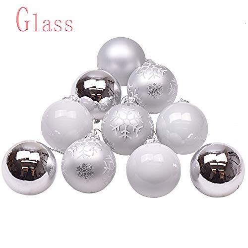 Victor's workshop 12 pezzi 6cm bianco e argento palla di natale christmas ball decorazione in vetro decorazioni albero di natale decorazioni natalizie (argento)