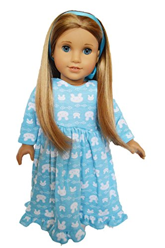 Camicia da notte con conigli, per bambole americane