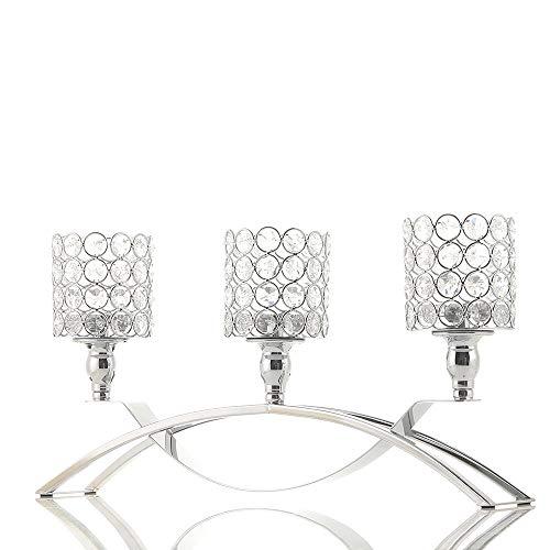VINCIGANT Silber Kristall Kerzenständer für Hochzeit Geschenk Wohnzimmer Dekoration Party Dekor Geburtstag Geschenk Jahrestag Feier