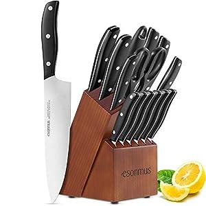esonmus Messerblock, Messerset mit Edelstahlklinge und Ergonomischem...