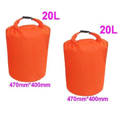 SODIAL(R) 2 x 20L Sac de sechage etanche Orange pour le camping, la derive, la randonnee et autres activites de plein air