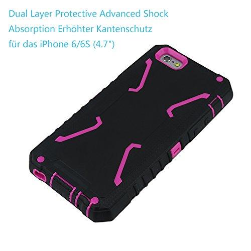 Custodia iPhone 6 6S,Allbuymall Apple 6S Case Cover ibrida a protezione integrale con parte esterna in 3 strati di morbido silicone e interno rigido per iPhone 6 / 6S 4.7 pollici(Nero + Nero) Nero + Caldo Rosa