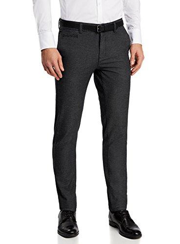 oodji Ultra Uomo Pantaloni Chino in Cotone, Grigio, IT 42 / EU 38 / S