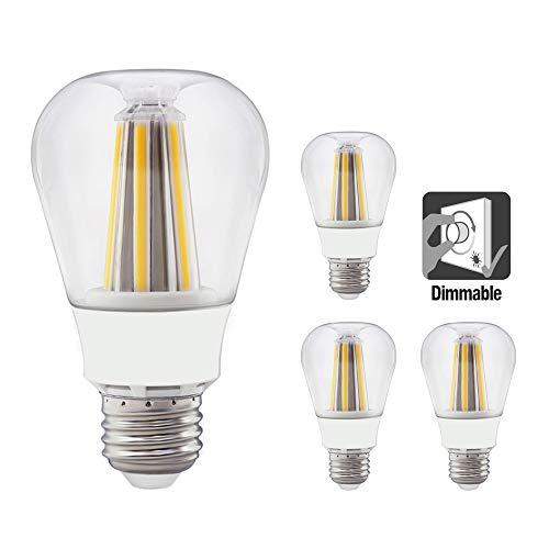 Lamparas Bombillas de Filamento LED COB Edison E27 Regulable 8W 810LM Luz Calida 3000K Bajo Consumo Decorativas Equivalente Incandescencia 60W Lot de 4 de Enuotek