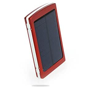 Andoer Portable 10000mAh External Solar Charger Mobile Power Universal for iPhone 5S, 5C, 5, 4S/iPad Air, 5, 4, 3, 2, iPad Mini 2/Samsung Galaxy S4, S3, Note 2, Note 3/ Nokia/Smartphones (red)