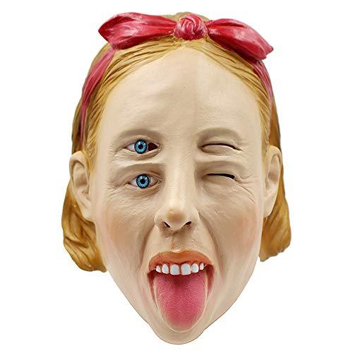 Xiaoman maschera per la testa di ragazza con quattro occhi maschera per il viso in lattice realistica costume per halloween costume per feste di natale (color : multi-colored, size : one size)