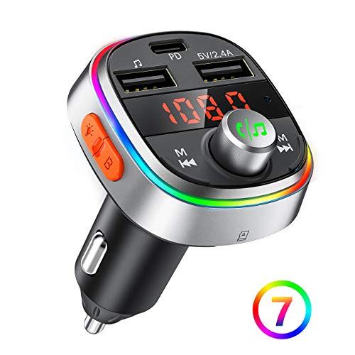 OMORC Bluetooth FM Transmitter,【Deep Bass PD3.0】für Bluetooth Adapter Auto, 3 USB Ladegerät Transmitter Freisprecheinrichtung mit Mikrofon/Bluetooth V5.0/7 Farbe LED Backlit/U-Disk/TF-Karte