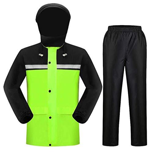 LHOME Regenmantel Wasserdichter Anzug Warnschutz Sicherheit Arbeit Regenjacke Poncho Winddichter Mantel Regenkleidung for Erwachsene mit Hosenanzug for Motorradfahren Camping Reiten, Schwarz und Gelb -