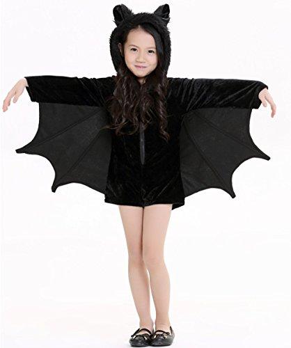 (Kauftree Kinder Junge Mädchen Kostüme Umhang Jumpsuit Overall Kurz Fledermaus Elf Halloween Karneval Fastnacht Party (XL für 145-160cm))