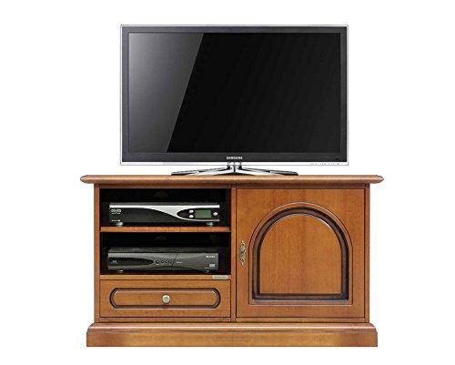 TV-Schrank aus Holz B106xT40xH60 cm, Schrank TV Made in Italy ,Möbel TV mit Tür und Schublade, bewegliche Einlegeböden NEU schon montiert