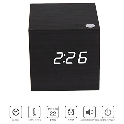 Alarm Cube 0608408264811Wecker Uhr digital LED Digital Display mit Datum/tempertature schwarz