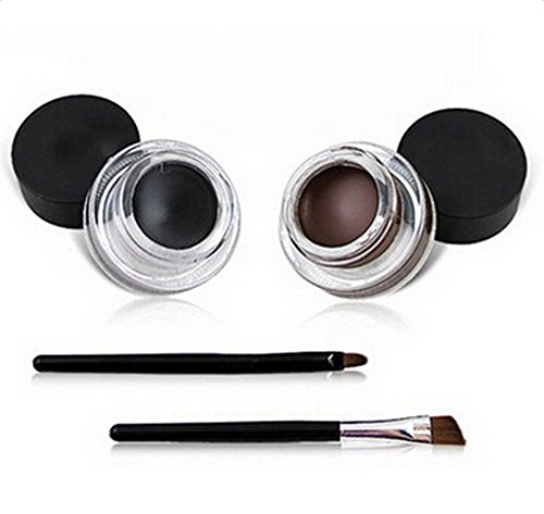 Demarkt Eyeliner Etanche Gel Cosmetique Noir Brun 2 En 1 + 2 Brush Sets