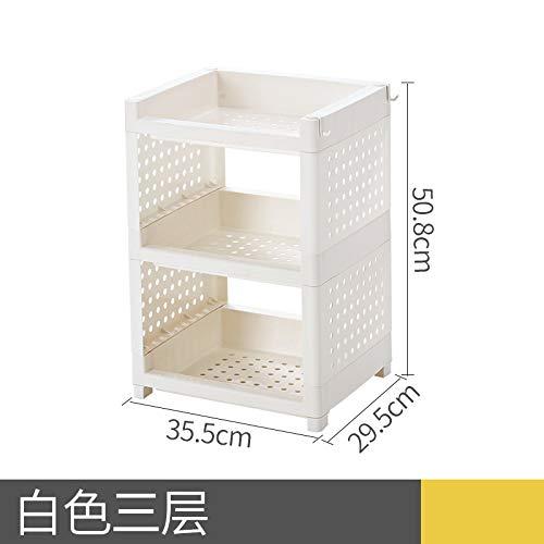 XIGUAZWJ Multifunktions-Rack Küche Rack Boden Multi-Layer Kunststoff Regal Erweitertes Dick Bad Lagerregal, Kurze Weiße 3-Schicht