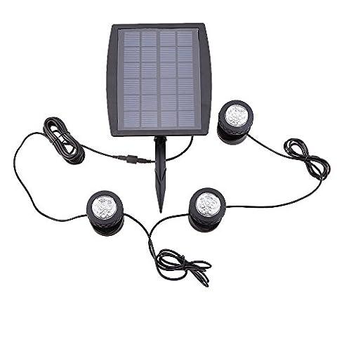 Lixada Solar Powered Super Bright 3 Submersible Lamps 18 LEDs
