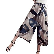 NiSeng Mujer Pantalones De Pierna Ancha Verano Loose Gasa Palazzo Pantalones Impresión Playa pantalones