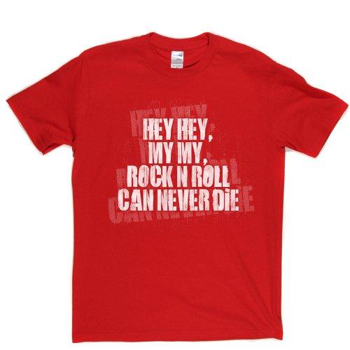 Hey Hey My My T-shirt (red/white large) - Hey Hey Roten T-shirt