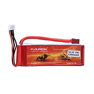 1X FLOUREON? 3S 25C 11.1V 2200mAh Lipo Battery Pack Deans Plug RC Battery for RC Helicopter RC Airplane RC Hobby RC Truck RC Boat RC DIY Parts Remote Control Reciver / Transmitter (Red)