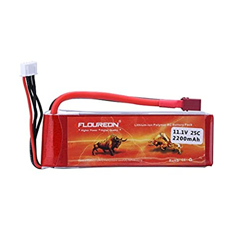 FLOUREON® 3S 25C 11.1V 2200mAh Lipo Battery Pack with T Plug RC Battery for RC Racing Airplane Helicopter Car Truck Boat Traxxas Slash DJI Phantom Flame Kyosho Racing Truck - 1Pack