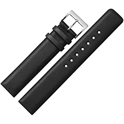 Cowhide Band 18mm Replacement Watch Strap/Watch Band, Straight-MARBURGER Since 1945Watch Straps-Black/Silver
