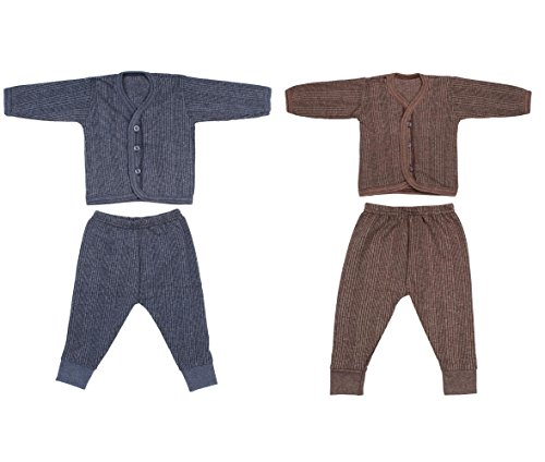 Littly Front Open Kids Thermal Top & Pyjama Set for Baby Boys & Baby Girls, Pack of 2 (Dark Colors)