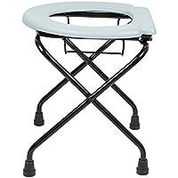 Ducomi® Taburete plegable inodoro para personas mayores y discapacitados (aluminio y titanio–Silla Toilette baño portátil para movilidad assistita