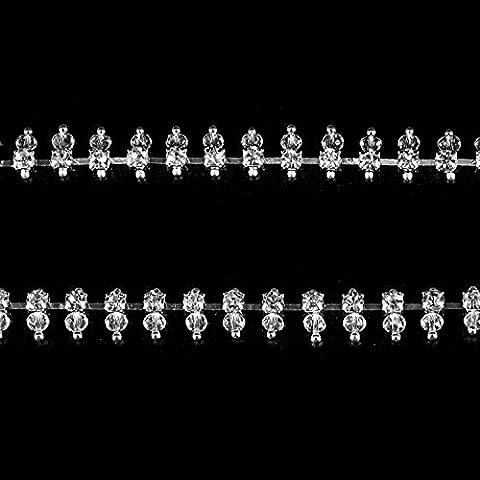1m Strass avec bordure Blanc Perles Chaîne Bijoux coudre pour gâteaux par Trimming Shop