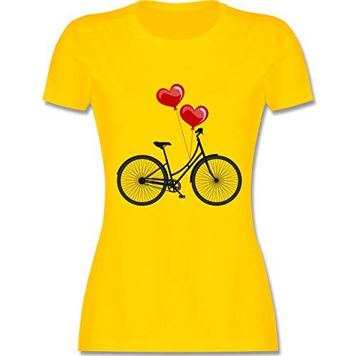 Vintage - Fahrrad Herz Luftballons - tailliertes Premium T-Shirt mit Rundhalsausschnitt für Damen Gelb