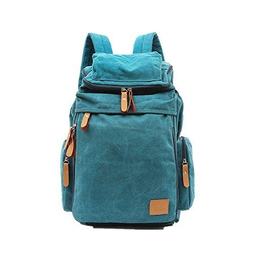 lazutom leichter Casual Leinwand Rucksack Tagesrucksack Travel Rucksack Schultasche Wandern Tasche khaki - blau