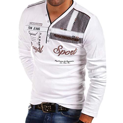 Yvelands Herren Mode T-Shirt Buchstabe Knopf Persönlichkeit Hemd Kurzarm Bluse Tops(Weiß1,M)