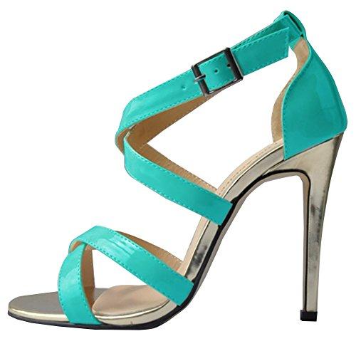 HooH Femmes Talon haut Été Sandales Croix Peep Toe Gladiator Escarpins Sandales Bleu Ciel