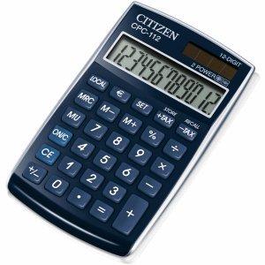 Citizen Taschenrechner CPC112 12-stellig Batterie/Solar blau
