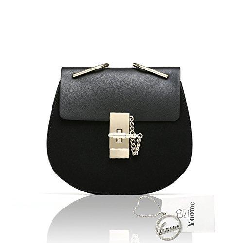 Yoome Punk Style U-Ring Borsa Flap Borsa Chain Bag Crossbody Borsa Envelope Frizione Mini Borse Per Ragazze - Blu Nero