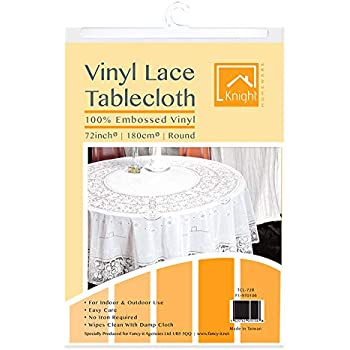 Vinyl Lace Tablecloth Table Cover White Square Round Oval Rectangle Embossed Wipe Clean Home Decor Cover Protector Woven Dining 54x54 Square Lace