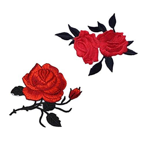 Rose Blume Stickerei Spitze Aufnäher Aufbügler Applikation Iron on Patches Für T-Shirt Jeans Hut Dekor 2 Stück von Satz -