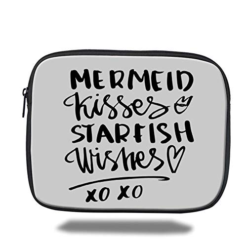 Tablet Bag for Ipad air 2/3/4/mini 9.7 inch,Xo Decor,Mermaid Kisses Starfish Wishes Love Message Inspirational Quote Lifestyle Image Decorative,Black White,Bag (Xo Kids Tablet)