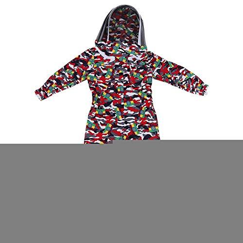 Mumusuki Kinder Camouflage Muster Baumwolle Bienenzucht Schutzraumanzug Overall mit Schleier Imker Ausrüstung Bekleidung Ganzkörper Bienenzucht Anzug