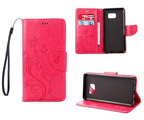 RanRou Galaxy Note 7 Funda Leather Funda [Butterfly Flower Pattern],Samsung Galaxy Note 7 Funda Flip PU Leather Wallet Card Slot Stand Funda Cover For Samsung Galaxy Note 7 Funda -pink red