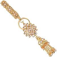 I Jewels Gold Plated Traditional Kundan & Pearl Chabi Challa/Challa Waist Key chain For Women (KC02W)